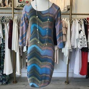 Print dress, long sleeve